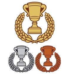 trophy cup with laurel wreath vector image