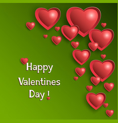 valentine day background with glowing hearts vector image vector image