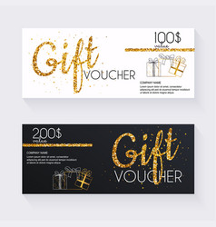voucher template with gold gift boxcertificate vector image