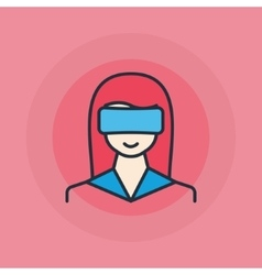 Woman with vr glasses icon vector