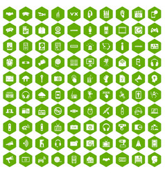 100 audio icons hexagon green vector image