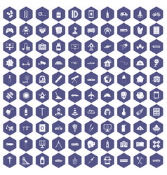 100 development icons hexagon purple vector image