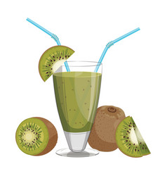 a glass fresh kiwi juice vitamin refreshing vector image