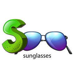 A letter S for sunglasses vector image