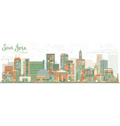 abstract san jose california skyline with color vector image