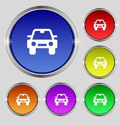 Auto icon sign Round symbol on bright colourful vector image