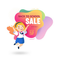 back to school sale banner in memphis style vector image