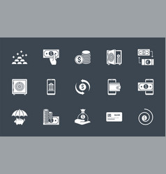 banking icons set related glyph icons vector image