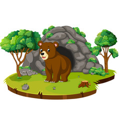 Bear in front of the cave vector