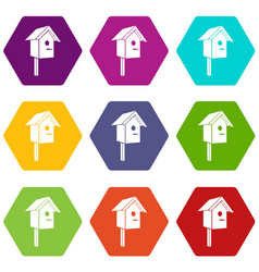 birdhouse icons set 9 vector image