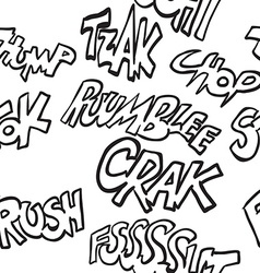 Black and white comic sounds pattern vector