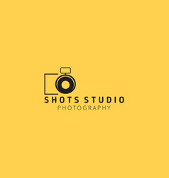black icons for photographer on yellow background vector image