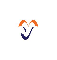 blue orange y logo letter sign icon symbol vector image
