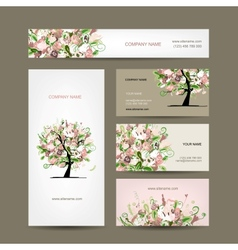 Business cards design with floral tree sketch vector
