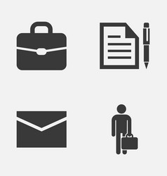 business icons set collection of work man suitcase vector image