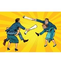 Business people office battle men riding women vector image