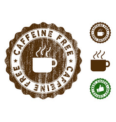 Caffeine free stamp seal with distress effect vector