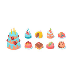 cake festive set chocolate brown sweet vector image