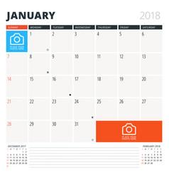 Calendar planner for january 2018 design template vector