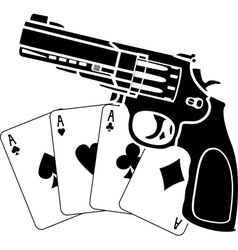 Cards and pistol vector