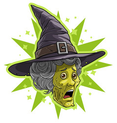 cartoon funny halloween dead zombie monster witch vector image