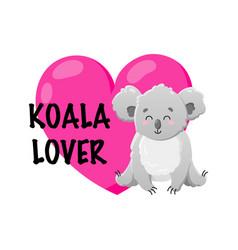 cartoon koala with heart doodle vector image