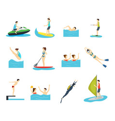 cartoon water sport and characters people set vector image