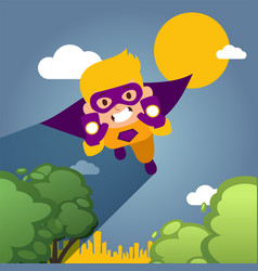 character child fly levitates and play in city vector image