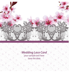 Cherry blossom lace card frame spring delicate vector