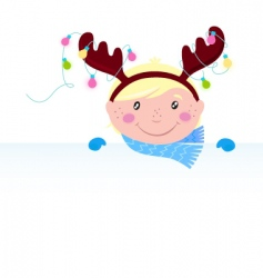 Christmas reindeer boy vector image
