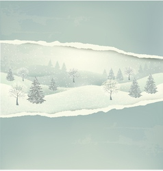 Christmas winter landscape background with ripped vector image