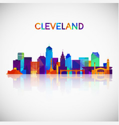 Cleveland skyline silhouette in colorful vector