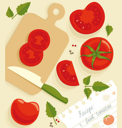 composition from fresh whole and cut tomatoes vector image