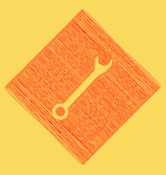 crossed wrenches sign red scribble icon vector image vector image