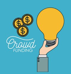 Crowd funding poster of hand with big light bulb vector