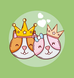 Cute king and queen animals cartoons vector