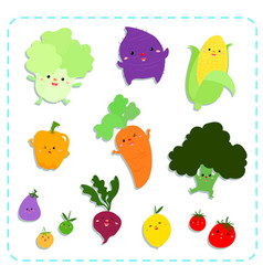 cute vegetables pack vector image