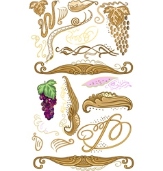 Decorated set for wine label vector