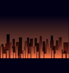 Evening panorama city skyscrapers vector