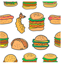 Fast food various of doodles vector