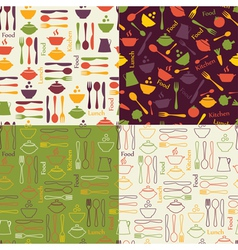 Food seamless patterns vector image