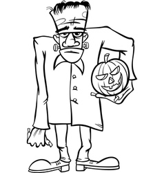 Frankenstein cartoon for coloring book vector