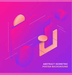 Geometric abstract isometric design background vector