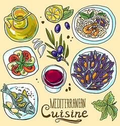 Hand-draw set mediterranean food- salad mussels vector