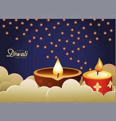 happy diwali celebration with red and wooden vector image