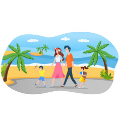 happy family on summer vacation concept parents vector image
