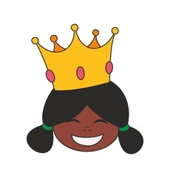 Happy little african princess head in crown vector