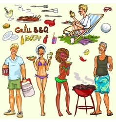 Happy people having BBQ party vector image