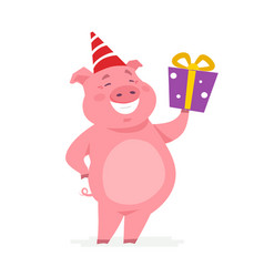 happy pig with a present - cartoon character vector image
