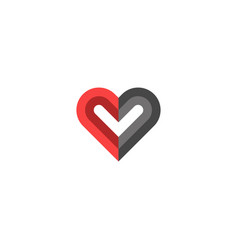 heart logo creative design black and red colors vector image